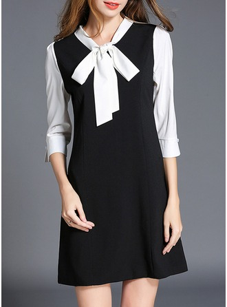 Polyester With Bowknot/Stitching Above Knee Dress