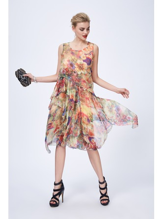 A-Line/Princess Scoop Neck Knee-Length Silk Cocktail Dress With Cascading Ruffles