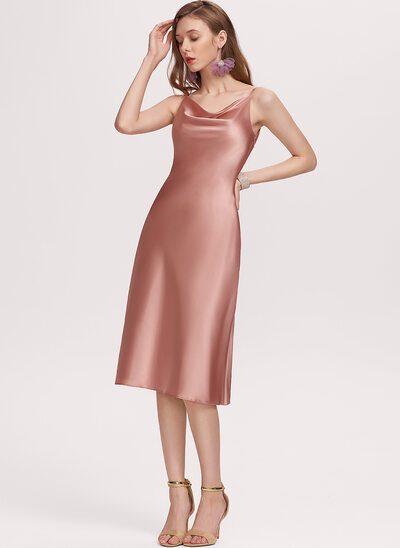 Sheath/Column Cowl Neck Knee-Length Satin Homecoming Dress