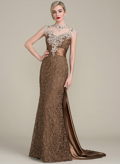 Trumpet/Mermaid Scoop Neck Floor-Length Watteau Train Lace Mother of the Bride Dress With Beading Sequins