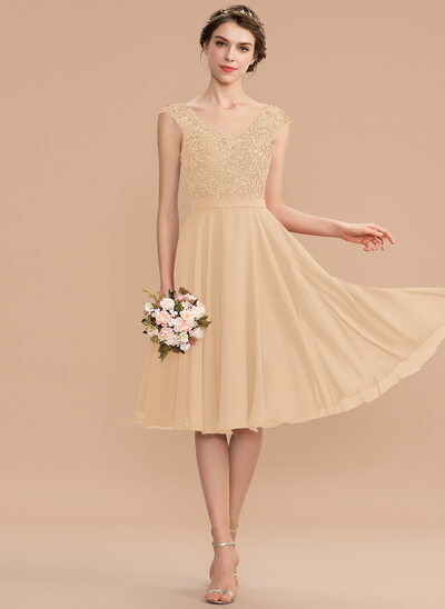 A-Line V-neck Knee-Length Chiffon Lace Bridesmaid Dress With Beading