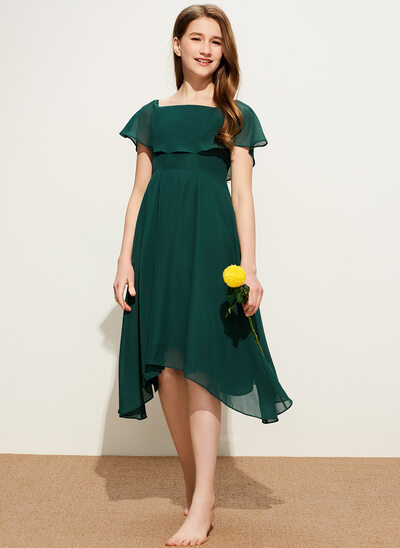 A-Line Square Neckline Knee-Length Chiffon Junior Bridesmaid Dress