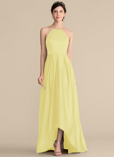 A-Line Square Neckline Asymmetrical Satin Bridesmaid Dress