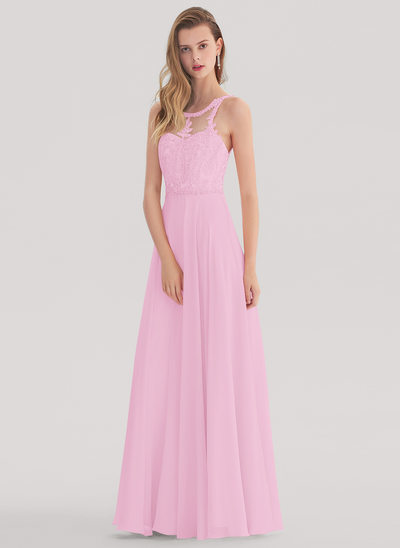 A-Line/Princess Scoop Neck Floor-Length Chiffon Prom Dresses With Beading