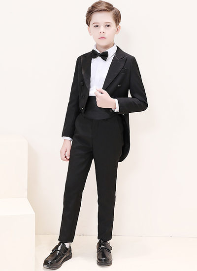 Boys 6 Pieces Elegant Ring Bearer Suits /Page Boy Suits With Jacket Shirt Pants Bow Tie Boutonniere Pocket Square