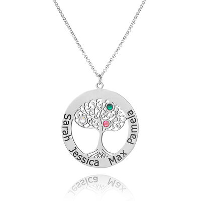 Custom Sterling Silver Engraving/Engraved Circle Family Necklace With Family Tree Birthstone - Birthday Gifts Mother's Day Gifts
