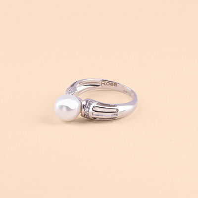 Bridesmaid Gifts - Personalized Eye-catching Imitation Pearls Zircon Copper Name Jewelry Ring