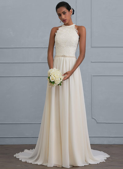 A Line Princess Halter Sweep Train Chiffon Wedding Dress With Beading