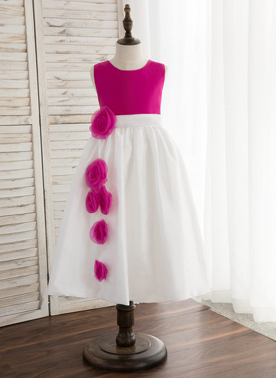 A-Line/Princess Tea-length Flower Girl Dress - Taffeta Sleeveless Scoop Neck With Flower(s)