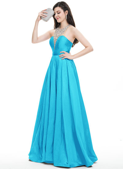 A-Line Halter Floor-Length Taffeta Prom Dresses With Beading Sequins