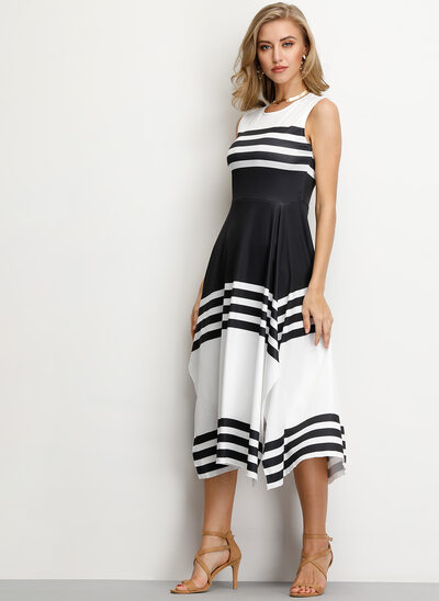 A-Line Scoop Neck Tea-Length Cocktail Dress