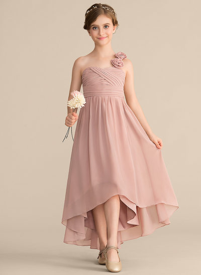A-Line One-Shoulder Asymmetrical Chiffon Junior Bridesmaid Dress With Ruffle Flower(s) Bow(s)