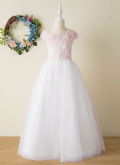 A-Line Floor-length Flower Girl Dress - Tulle/Lace Sleeveless Square Neckline With Beading/Appliques/Bow(s)