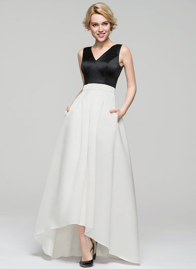 A-Line/Princess V-neck Asymmetrical Satin Evening Dress With Pockets
