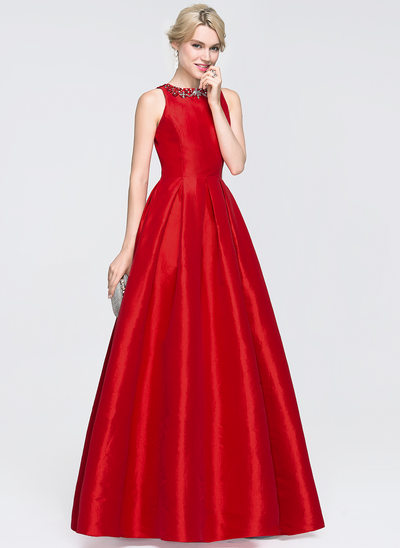 A-Line Scoop Neck Floor-Length Taffeta Prom Dresses With Beading Sequins