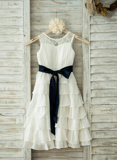 A-Line/Princess Tea-length Flower Girl Dress - Chiffon/Lace Sleeveless Scoop Neck With Ruffles/Sash