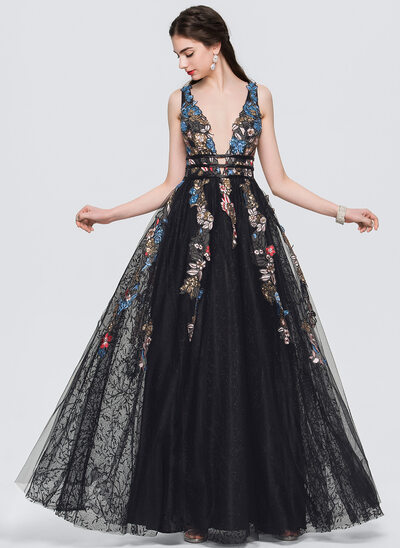 A-Line/Princess V-neck Floor-Length Evening Dress With Lace Beading Sequins