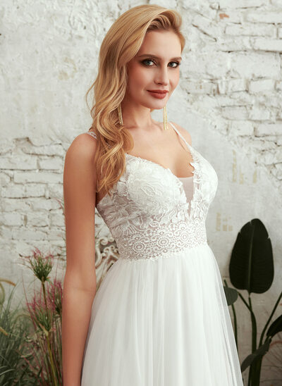 A-Line V-neck Floor-Length Wedding Dress