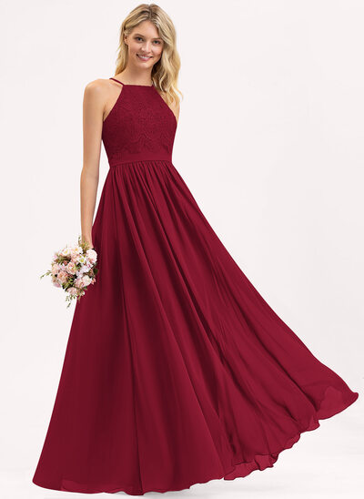 A-Line Square Neckline Floor-Length Chiffon Lace Bridesmaid Dress