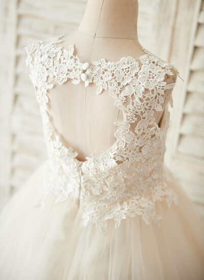 A-Line Knee-length Flower Girl Dress - Tulle/Lace Sleeveless Scoop Neck With Back Hole