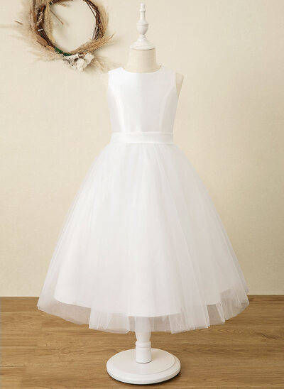 A-Line Tea-length Flower Girl Dress - Satin/Tulle Sleeveless Scoop Neck