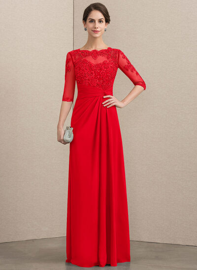 A-Line/Princess Scoop Neck Floor-Length Chiffon Lace Mother of the Bride Dress With Beading Sequins