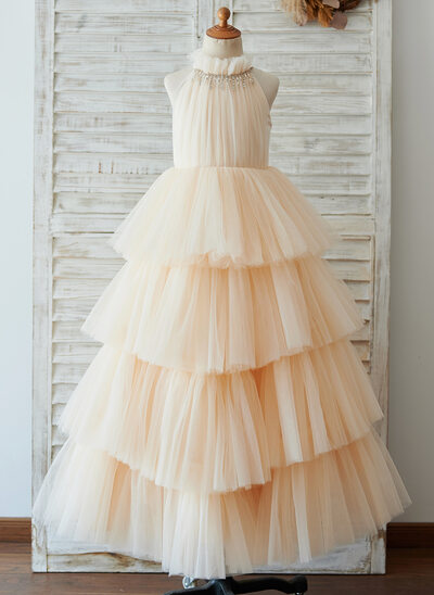 Ball-Gown/Princess Floor-length Flower Girl Dress - Tulle Sleeveless High Neck
