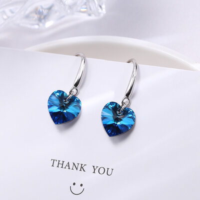 Heart of the Ocean 925 Sterling Silver Earrings