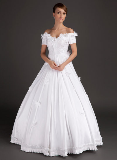 Ball-Gown Off-the-Shoulder Floor-Length Satin Wedding Dress With Beading Appliques Lace Flower(s)