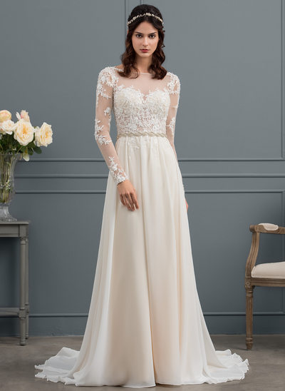 A-Line/Princess Scoop Neck Court Train Chiffon Wedding Dress With Beading Sequins
