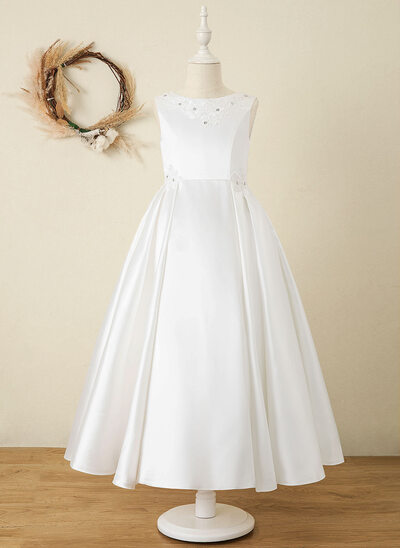 A-Line Ankle-length Flower Girl Dress - Satin/Lace Sleeveless Scoop Neck With Lace/Rhinestone