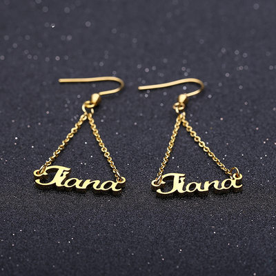 Personalized Ladies' Chic Gold Plated Name Earrings For Bridesmaid/For Friends