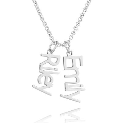 Christmas Gifts For Her - Custom Sterling Silver Two Name Necklace