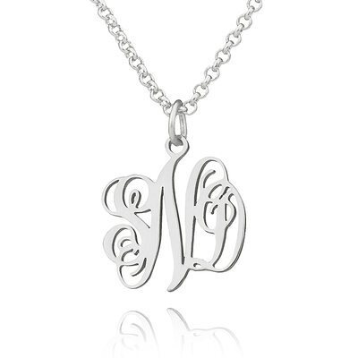 Christmas Gifts For Her - Custom Sterling Silver Letter Xs Monogram Necklace