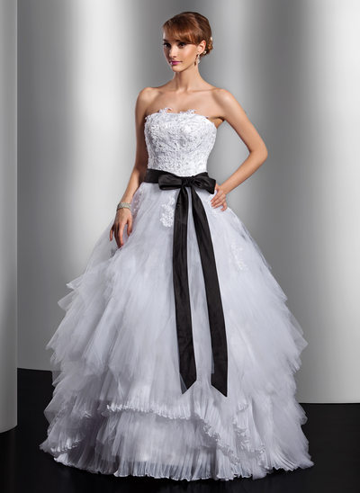 Ball-Gown Strapless Floor-Length Tulle Quinceanera Dress With Sash Appliques Lace Bow(s) Cascading Ruffles