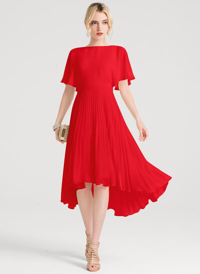 A-Line Scoop Neck Asymmetrical Chiffon Bridesmaid Dress With Pleated