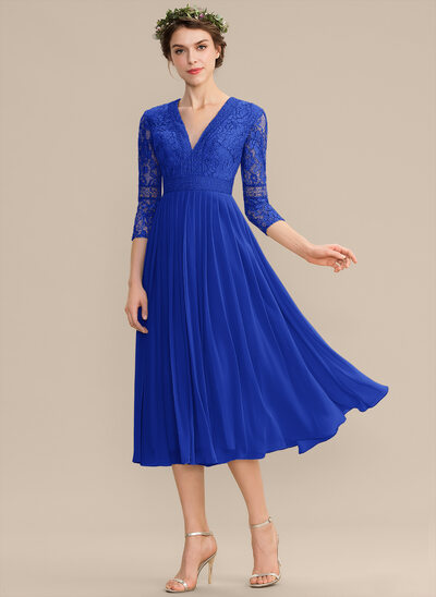 A-Line V-neck Tea-Length Chiffon Lace Bridesmaid Dress With Pleated