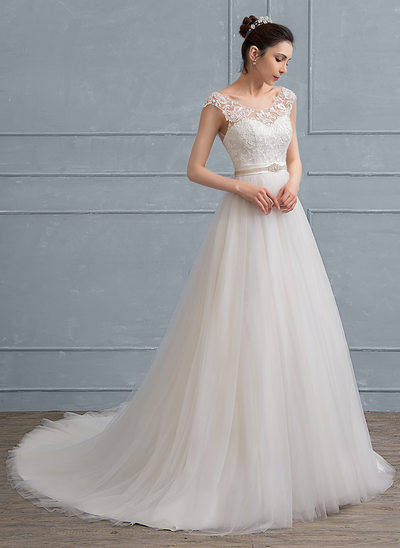 A-Line/Princess Scoop Neck Court Train Tulle Lace Wedding Dress With Beading Bow(s)