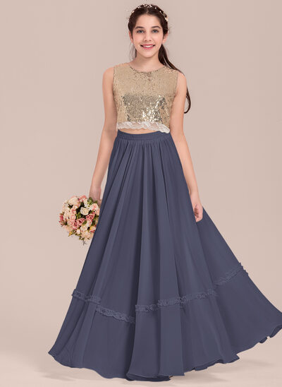 A-Line Scoop Neck Floor-Length Chiffon Junior Bridesmaid Dress With Lace
