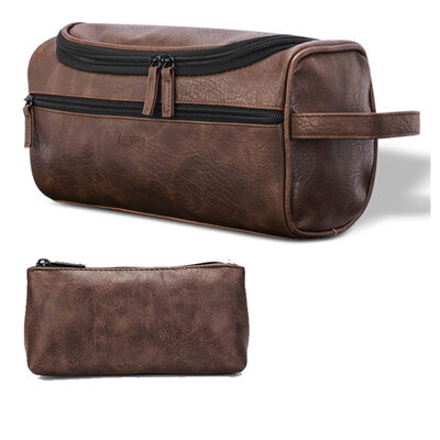 Groom Presenter - Tappning Utformar Läder Dopp Kit Bag
