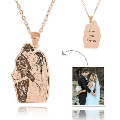 Custom 18k Rose Gold Plated Silver Engraving/Engraved Tag Black And White Photo Engraved Engraved Necklace Photo Necklace - Birthday Gifts
