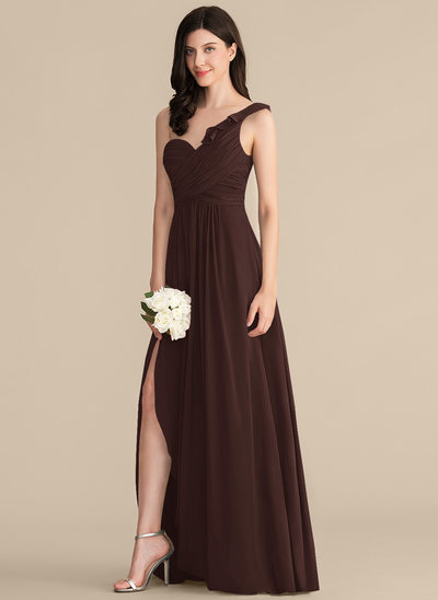 A-Line/Princess One-Shoulder Floor-Length Chiffon Bridesmaid Dress With Split Front Cascading Ruffles