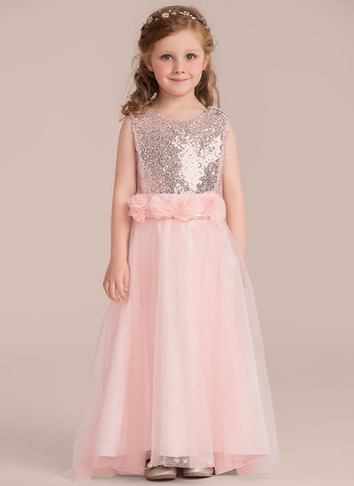 A-Line/Princess Floor-length Flower Girl Dress - Tulle/Sequined Sleeveless Scoop Neck With Flower(s)