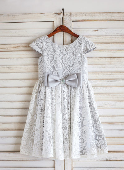A-Line/Princess Knee-length Flower Girl Dress - Lace Sleeveless Scoop Neck With Bow(s)