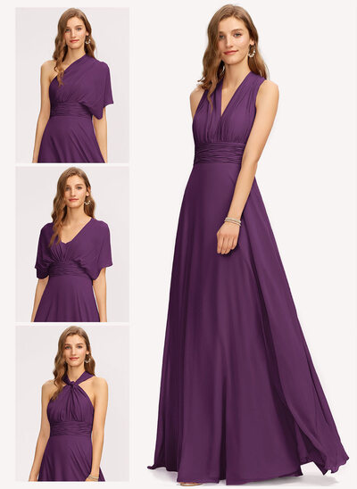 A-Line One-Shoulder Halter V-neck Floor-Length Chiffon Bridesmaid Dress With Ruffle