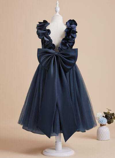 A-Line Tea-length Flower Girl Dress - Satin/Tulle Sleeveless V-neck With Flower(s)/Bow(s)