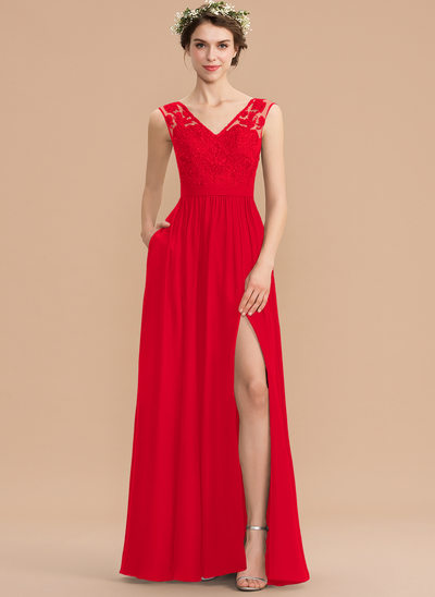 8215419c73d A-Line V-neck Floor-Length Chiffon Lace Bridesmaid Dress With Beading  Sequins New