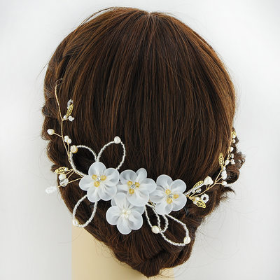 Ladies Charming Alloy Flowers & Feathers With Venetian Pearl (Sold in single piece)