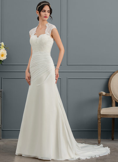 Trumpet/Mermaid Square Neckline Court Train Chiffon Wedding Dress With Ruffle