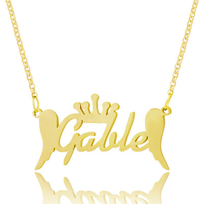 Custom 18k Gold Plated Silver Name Necklace With Crown Angeles - Christmas Gifts